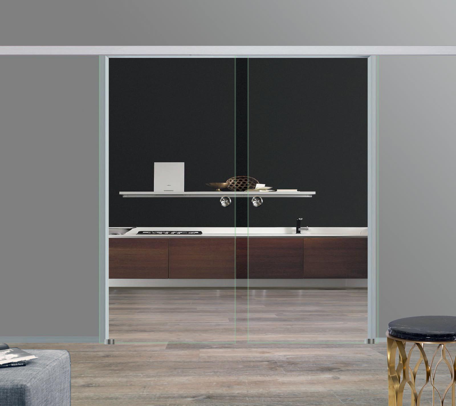 Zweiflügelige Glas Schiebetüren Klarglas