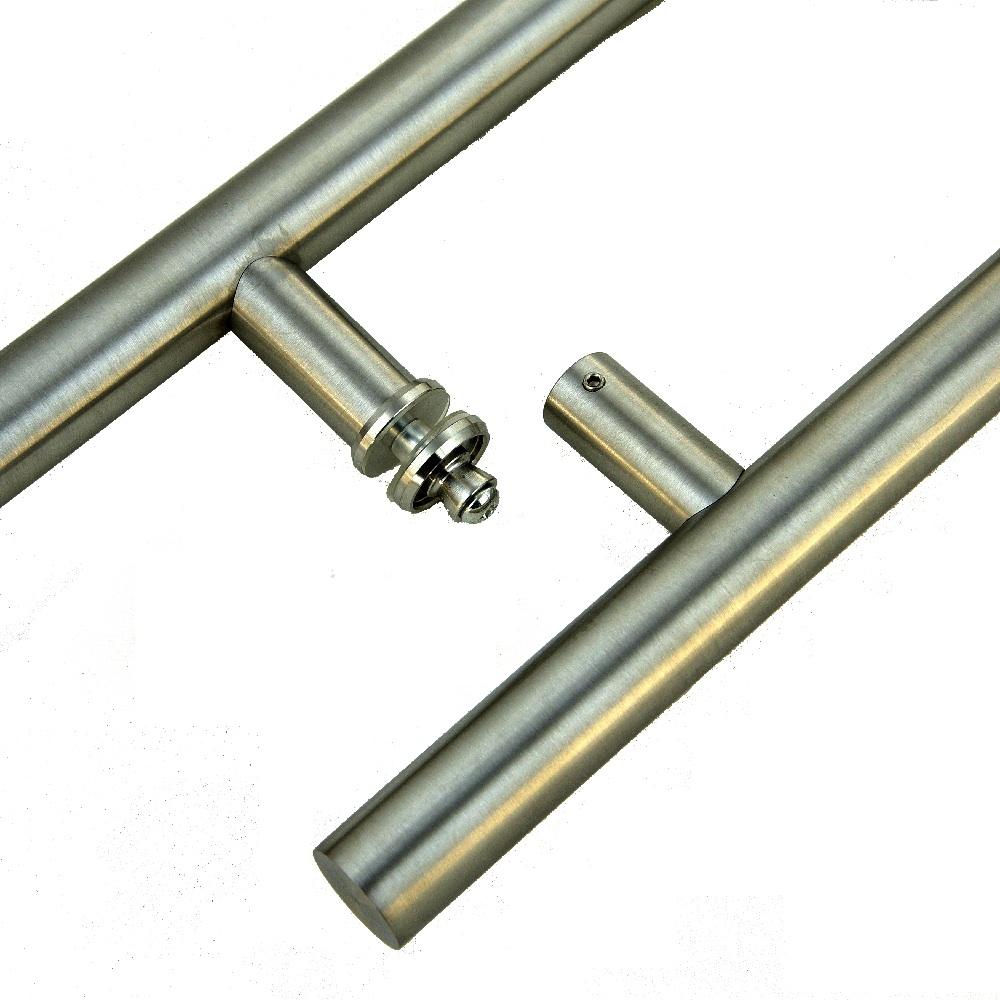 BM4-900-420GR-ASE Schiebet/ürsystem ESG 900x2050x8mm Dekor M4 Siebdruck; Schienensystem ALU SlimLine SoftClose; Griffstange eckig 420