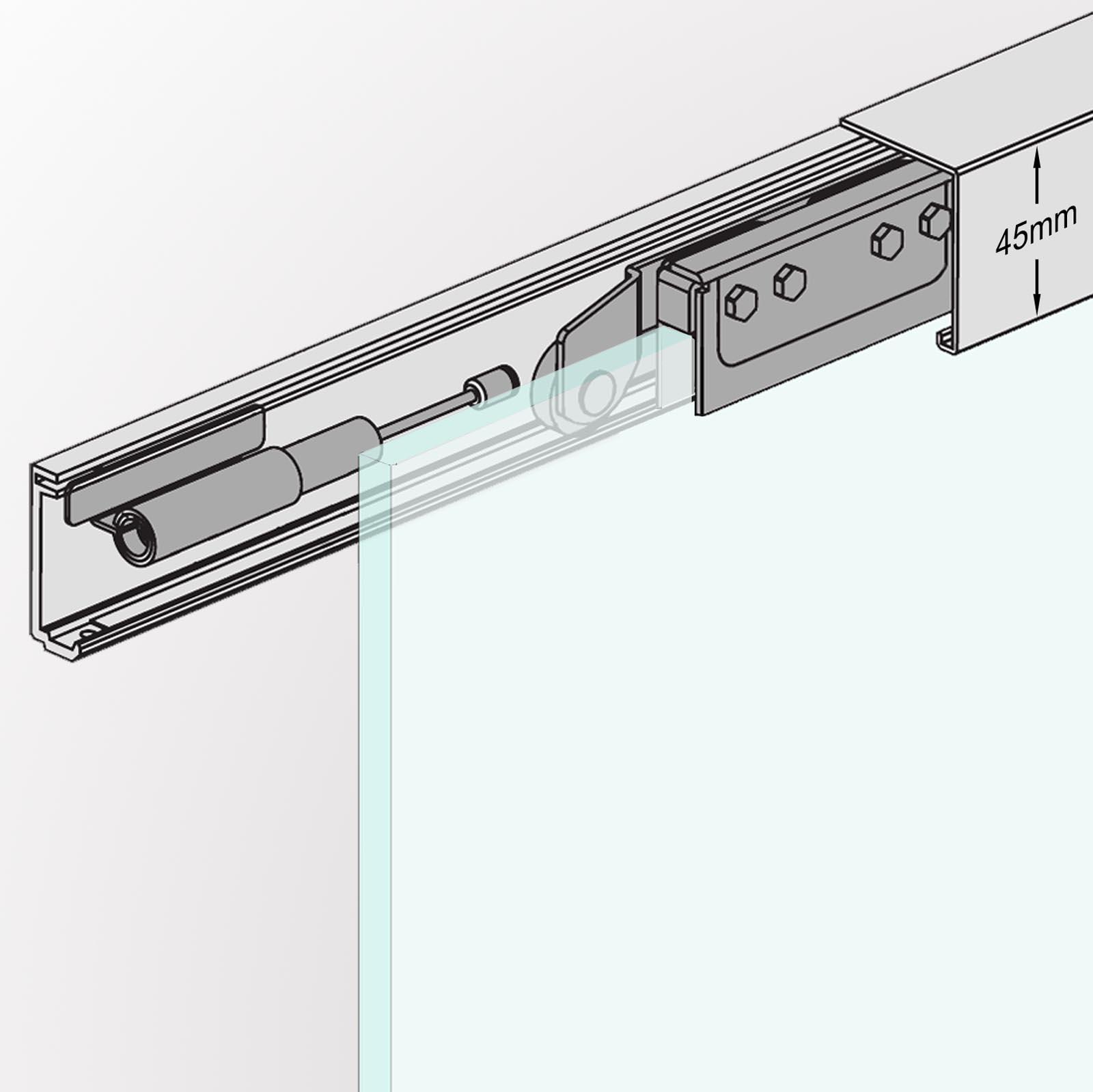Typ GT BuyLando.Shop Variation 775x2050mm Satiniert 2050 H/öhe 8mm Glasschiebet/ür Schiebet/ür Glast/ür T/ür Aufh/ängung